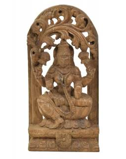 Dřevěná socha Laxmi z jižní Indie, rain tree wood, 22x7x45cm