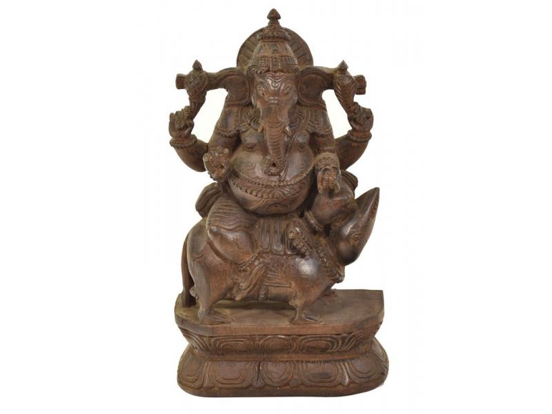 Dřevěná socha Ganeši z jižní Indie, rain tree wood, 17x8x30cm