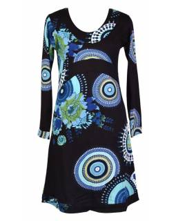 """Černé šaty s dlouhým rukávem """"Flower Mandala"""", barevný potisk"""