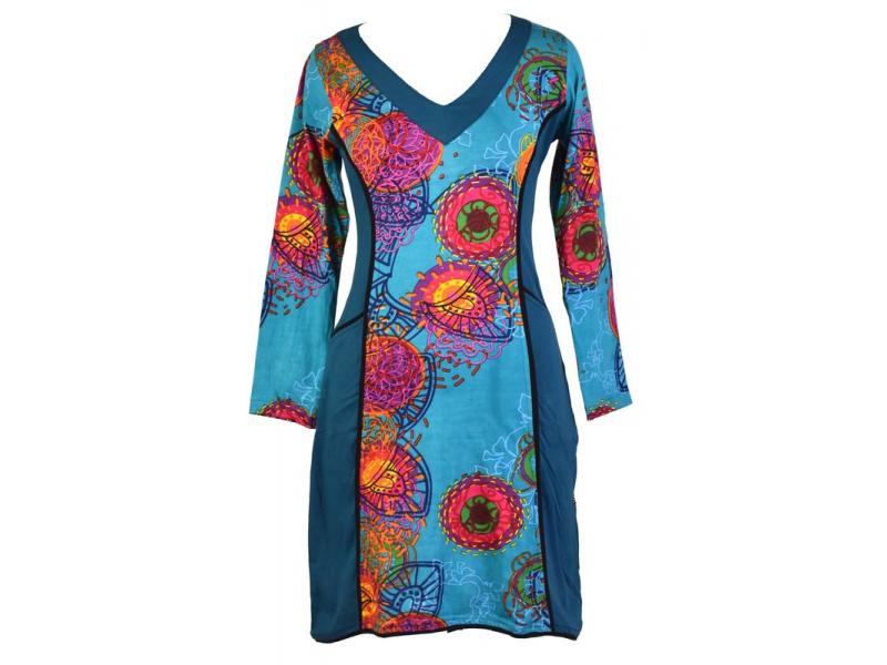 Tyrkysové šaty s dlouhým rukávem, Flower Mandala potisk, kapsy