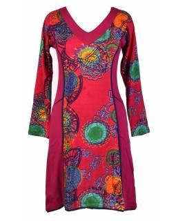 Růžové šaty s dlouhým rukávem, Flower Mandala potisk, kapsy
