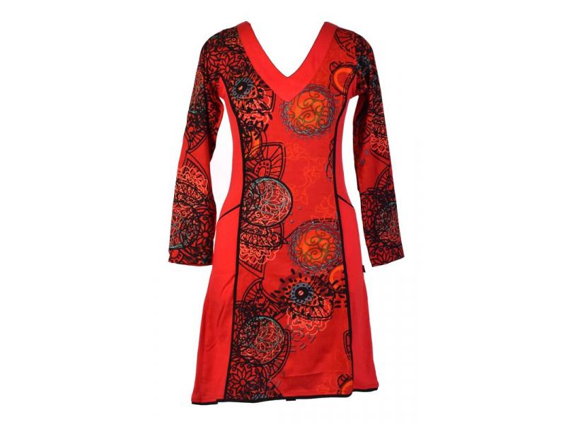 Červené šaty s dlouhým rukávem, Flower Mandala potisk, kapsy