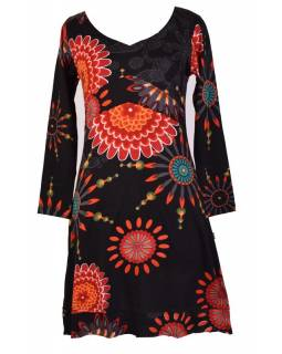 Černé šaty s dlouhým rukávem, Flower Mandala potisk