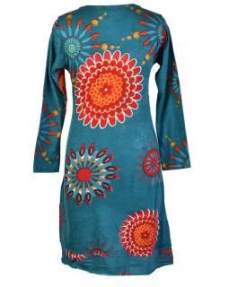 Tyrkysové šaty s dlouhým rukávem, Flower Mandala potisk