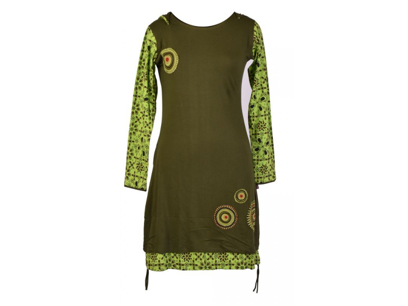 Zeleno-khaki šaty s kapucí a dlouhým rukávem, aplikace mandal