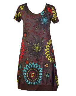 Šedé balonové šaty s krátkým rukávem a potiskem flower mandala