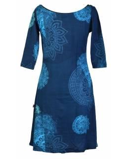 Tmavě modré šaty s tříčtvrtečním rukávem a lodičkovým výstřihem, mandala potisk