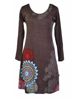 Šedé šaty s dlouhým rukávem, mandala potisk