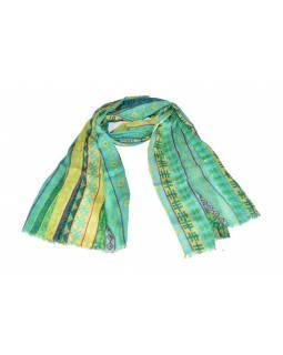 Tyrkysový šátek s multibarevným potiskem, 180x75cm