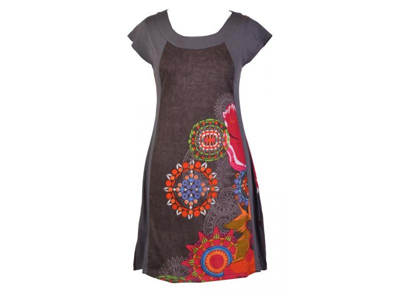 Šedé šaty s krátkým rukávem, mandala potisk