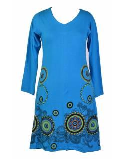Tyrkysové šaty s dlouhým rukávem, mandala potisk