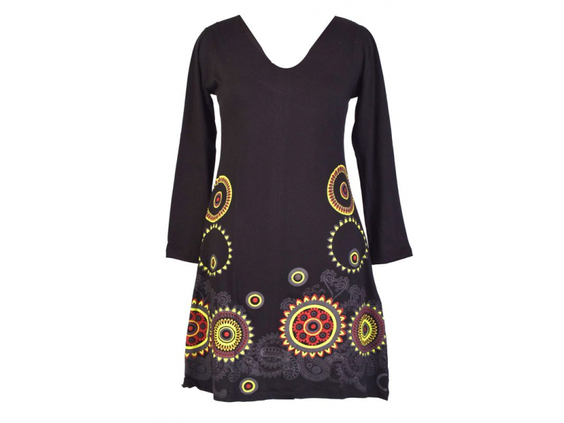 Černé šaty s dlouhým rukávem, mandala potisk