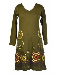 Khaki šaty s dlouhým rukávem, mandala potisk