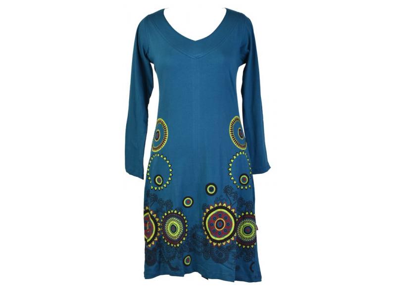 Petrolejové šaty s dlouhým rukávem, mandala potisk