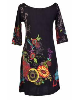 Černé šaty s tříčtvrtečním rukávem a lodičkovým výstřihem, Eolia design