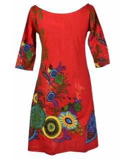 Červené šaty s tříčtvrtečním rukávem a lodičkovým výstřihem, Eolia design