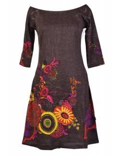 Šedé šaty s tříčtvrtečním rukávem a lodičkovým výstřihem, Eolia design