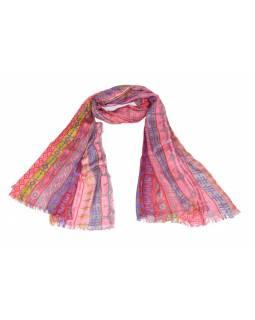 Růžový šátek s multibarevným potiskem, 180x75cm