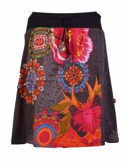 Krátká šedivá sukně s potiskem, elastický pas, šňůrka
