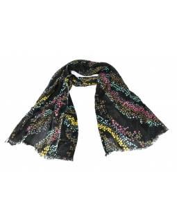 Černý šátek s barevnými puntíky, 180x75cm