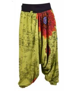 """Zelené turecké kalhoty s vysokým pasem, """"Disco design"""","""