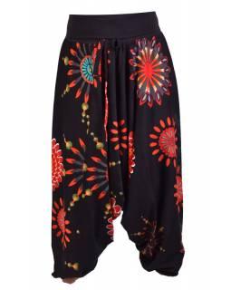 """Černé turecké kalhoty s vysokým pasem, """"Flower mandala"""""""