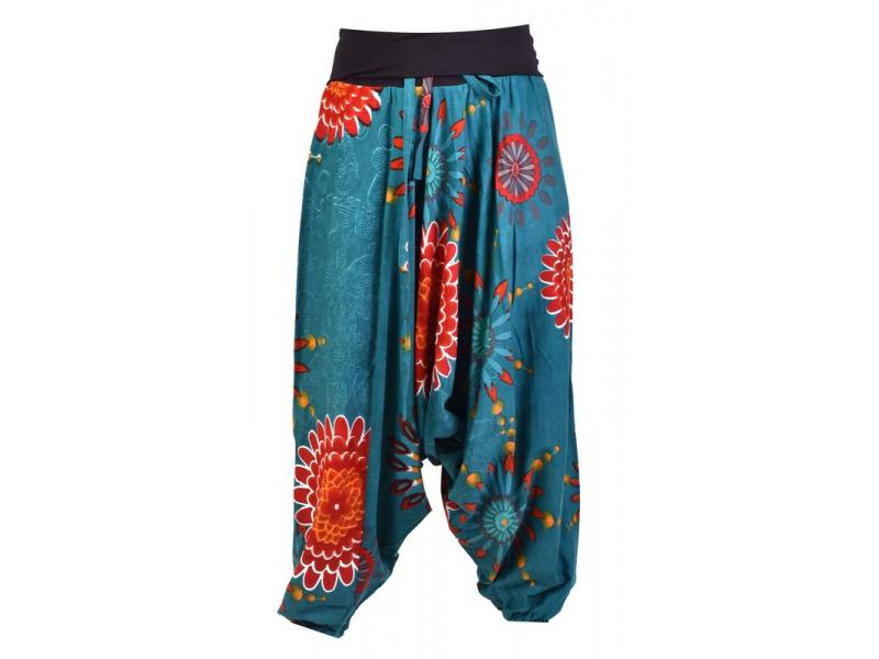 """Tyrkysové turecké kalhoty s vysokým pasem, """"Flower mandala"""""""