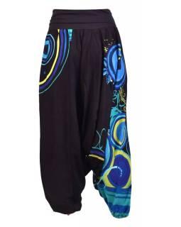 """Černé turecké kalhoty s vysokým pasem, """"Disco mandala"""""""