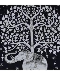 Přehoz na postel, Slon a strom života, černo-bílý, 204x227cm