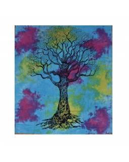 Přehoz na postel, strom života, multibarevná batika, 202x220cm