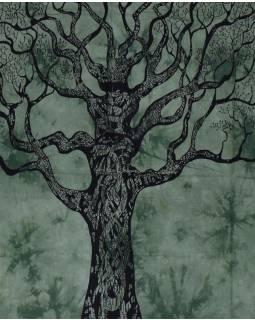 Přehoz na postel, strom života, zelená batika, 202x220cm