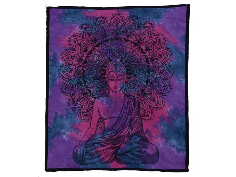 Přehoz na postel, Buddha, fialovo-růžový, 204x230cm