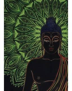 Přehoz na postel, Buddha, zeleno-černý, 204x227cm
