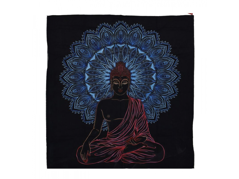 Přehoz na postel, Buddha, modro-černý, 204x227cm