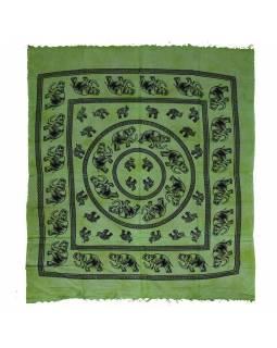 Přehoz na postel, Sloni, zelený, třásně, 240x210cm