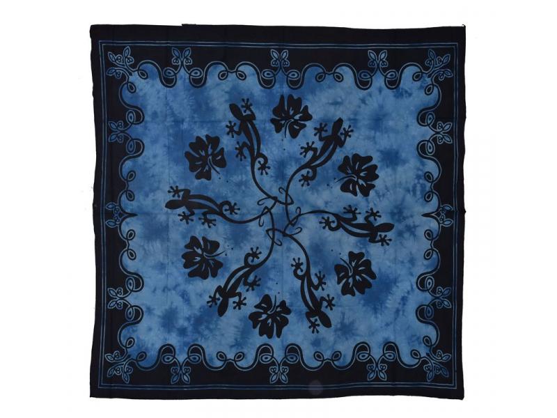 Přehoz na postel, ještěrky, modro-černý, 220x210cm