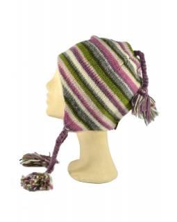 Čepice, uši, vlna, podšívka, pruhy růžovo-šedo-zelené