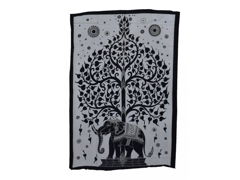 Přehoz na postel, Slon a strom života, bílo černý, 140x200cm