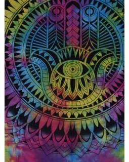 Přehoz s tiskem, ruka Fatimy, barevná batika, 200x140cm