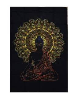 Přehoz na postel, Buddha, černo-žlutý, 200x140cm