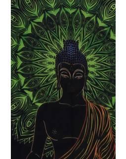 Přehoz na postel, Buddha, černo-zelený, 200x140cm
