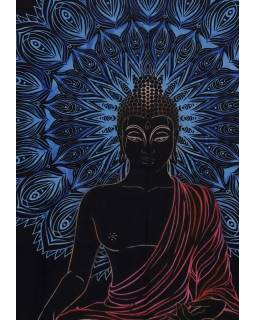 Přehoz na postel, Buddha, černo-modrý, 200x140cm