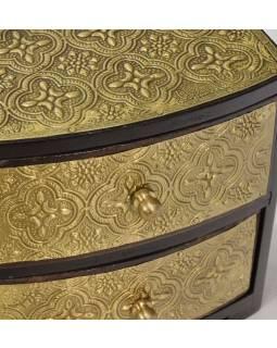 Dřevěná skříňka s 2 šuplíky, mosazné kování, 15x9x15cm