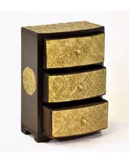 Dřevěná skříňka s 3 šuplíky, mosazné kování, 15x9x22cm