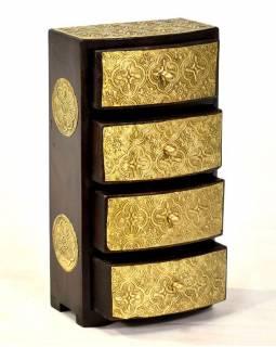 Dřevěná skříňka s 4 šuplíky, mosazné kování, 15x9x28cm