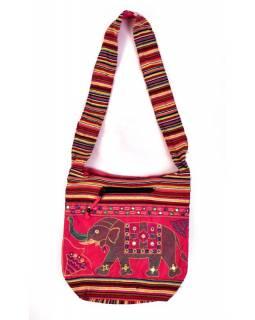 Taška přes rameno s výšivkou slona, 37x36cm