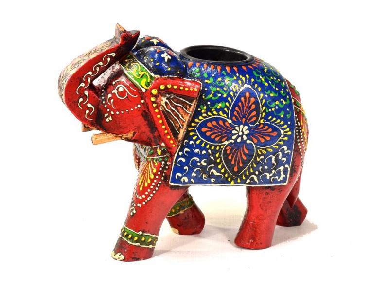 Dřevěný, ručně malovaný svícen slon, 19x7x15cm