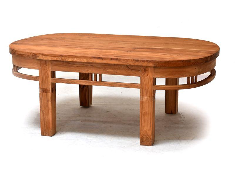 Stůl, oválný, antik teak, hranaté nohy, 130x80x55cm