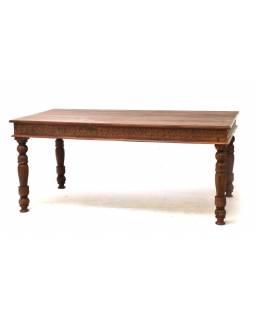 Velký vyřezávaný jídelní stůl z teakového dřeva, 90x180x80cm