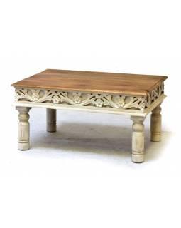 Konferenční stolek z mangového dřeva, ruční řezby, bílá patina, 90x60x47cm
